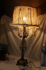 Antique Faberge Hand Painted Glass Egg Inspired Egyptian Revival Candelabra Lamp