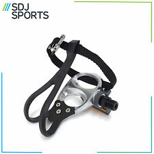 VP PE398T PERFORMANCE ALLOY MTB ROAD BIKE PEDALS TOE CLIPS & STRAPS SILVER 9/16