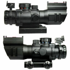 New  4X32 RGB Prismatic Rifle Scope with Fiber Optic Sight Tri-illuminated
