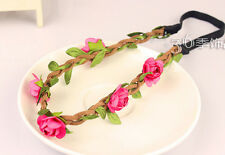 New Nice Red Five Charming Rose Flower Women Hair Hand Jewelry Ribbon Hairband