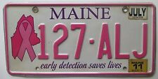 Maine 2011 BREAST CANCER GRAPHIC License Plate HIGH QUALITY # 127-ALJ