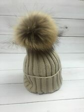 Winter Hat with Real Raccoon Fur Pompom
