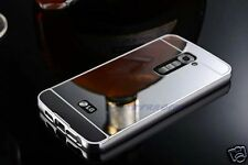 ALUMINIUM BUMPER METAL CHROME MIRROR BACK COVER CASE + TEMPERED GLASS FOR LG