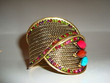 Bronze tone multi-coloured rhinestone diamante open cuff bracelet jewellery