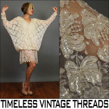 vtg 80s CREAM SEQUIN Slouchy SCALLOPED Beaded Batwing DROP WAIST Party DRESS M-L
