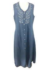StyleWorks Denim Maxi Dress Sleeveless Button Front Embroidered Size 20 Vintage