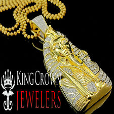 Real 10K Yellow Gold Silver King Tut Pendant Lab Diamond Egyptian Pharaoh Chain