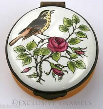 Crummles Enamels Song Thrush on Rose Bush Enamel Box
