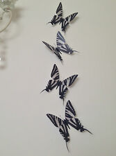 4 Animal Print Zebra 3D Black & White Butterflies Mirror Wall Home Accessories