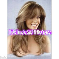 TWO TONE BLONDE BROWN MIX LONG WOMENS LADIES WIGS/WIG