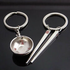 K001 2Pcs Chinese Style Bowl + Chopsticks Key Chain Key Ring Valentine's Gifts