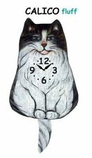 Pink Cloud Black and White Fluffy Calico Cat Swinging Pendulum Wall Clock