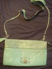 NEW GUESS GREEN FAUX LEATHER TOTE CROSSBODY SHOULDER BAG CLUTCH GOLD CHAIN STUDS