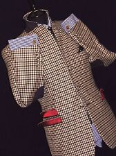 LOUXURY MENS WILLIAM HUMT SAVILE ROW  SPORTS GINGHAM CHECK TWEED SUIT JACKET 40R