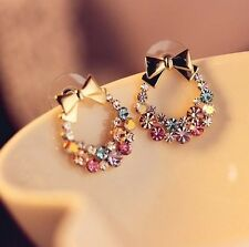 Women Fashion Jewelry Colorful Crystal Rhinestone Earring Gold Bowknot Ear Stud