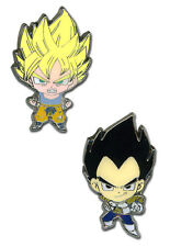 OFFICIAL DRAGON BALL Z SUPER SAIYAN GOKU AND VEGETA PIN BADGE SET *NEW*