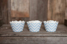 Light Blue Chevron Cupcake Wrappers, Set of 12