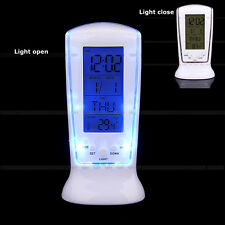 LED Light Digital LCD Table Desk Alarm Clock Calendar Thermometer Snooze Time