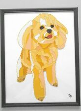 Malti Poo Dog Original hand Painting on glass artist V.Kovtun 11x14 in.