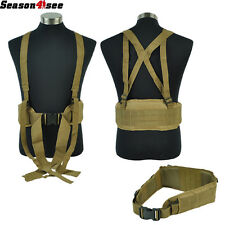 Airsoft Tactical Military Molle Waist Padded Belt With H-shaped Suspender Gear