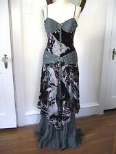 SUE WONG Nocturne Green Silk Chiffon Floral Beaded Evening Dress, Size 6