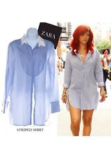 ZARA blue white striped cotton Shirt Dress Size Large Bloggers Favourite