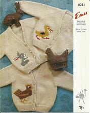 VINTAGE KNITTING PATTERN CHILD'S CARDIGAN W DUCK RABBIT OR CHICKEN MOTIF