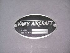 """Vans Aircraft DEA Required """"Aircraft Identification Data Plate"""" Etched Stainless"""