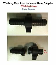Washing Machine Hose Coupler - With Quick Release - Universal / Dishwasher 21 mm