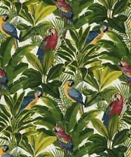 Grandeco Wallpaper - Tropical Forest Parrots Birds / Leafs - Exotic Red - A11502