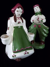 "Vintage 40's California Pottery 6"" Couple Planter set figures Cute Clothing"