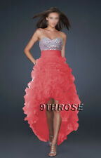 TRENDY HIGH-LOW HEM! FANCY FRILL SKIRT PROM/FORMAL/EVENING DRESS; CORAL AU12US10