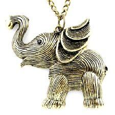 Vintage Art Déco retro estilo bronce elefante collar