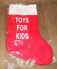 """TOYS FOR KIDS"" Red/White 14"" Holiday Christmas Stocking - NEW, Sealed"
