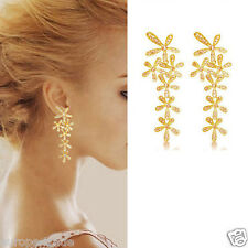 LONG GOLD BUTTERFLY DIAMANTE CRYSTAL TASSEL DROP DANGLE CHANDELIER EARRINGS