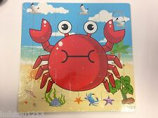 16PCS Wooden Children Jigsaw Puzzles Cute Crab Animal Puzzles Toy for Kids