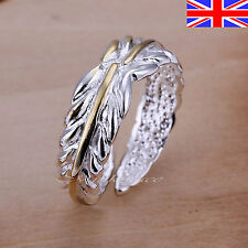 Ladies 925 Silver Adjustable Silver Ring Leaf Thumb Finger Rings Band Gift Bag
