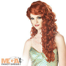 Ariel Red Mermaid Wig Ladies Fancy Dress Fairytale Princess Costume Accessory