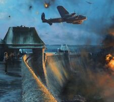 Rob Taylor 617 Sq Dambusters print Last Moments of Mohne Dam signed 5 veterans