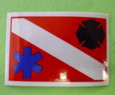 DIVERS DECAL STICKER WITH  STAR OF LIFE AND FIRE DEPT MALTESE CROSS