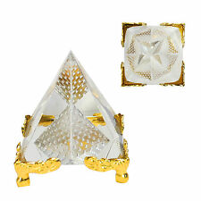 FENGSHUI PYRAMID TRANSPARENT REIKI ORGONE INSIDE CUT PYRAMID ON STAND