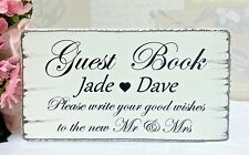 Wedding Guest Book Table Sign Shabby Vintage Chic Personalised Free Standing