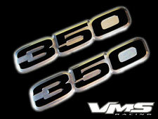 VMS 2 CHEVY 350 CI CUBIC INCH ENGINE ALUMINUM EMBLEMS BLACK CHROME PAIR SBC SET