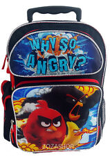 "Angry Birds 16"" Large School Roller Backpack Rolling Bag Red Bird NEW Style!"