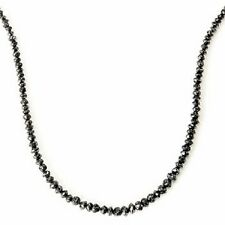 "Diamond Treasures 14 kt Gold 18"" 24ctw Black Rough Diamond Necklace"