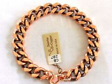 """NEW Solid Copper Heavy Chain Link 9"""" U.S.A. Bracelet - Arthritis Relief Folklore"""
