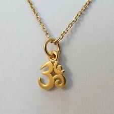 Tiny Ohm Necklace - 24k Gold Plated 925 Sterling Silver - Gold Ohm Charm NEW