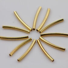 50Pcs Curved Tube Golden Plated Elbow Noodle Loose Spacer Bead Findings 2x25mm