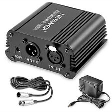 Neewer® 1- Channel 48V Phantom Power Supply Black with Adapter for Condenser Mic