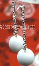 SALE Snow White 10mm Round Jade earring with Stering hook-ear145